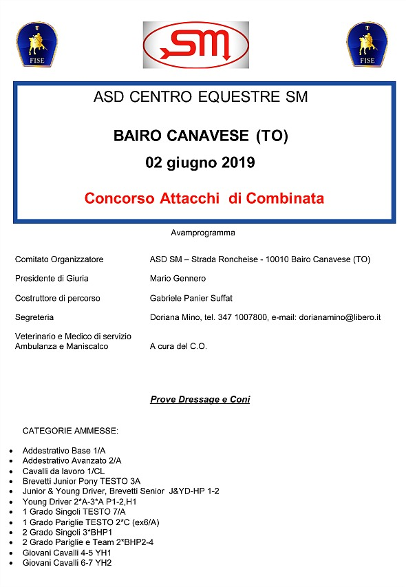 Bairo/TO, Combinata FISE @ Centro Equestre SM ASD, Strada Roncheise