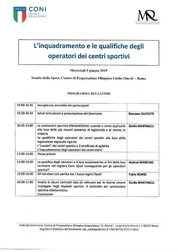 Conferenza CONI su operatori centri ippici @ Centro Preparazione Olimpica Acquacetosa