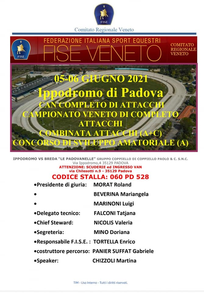 Padova, Completo & Combinata FISE, Camp. Reg. Veneto @ Ippodromo VS Breda, via Ippodromo 4